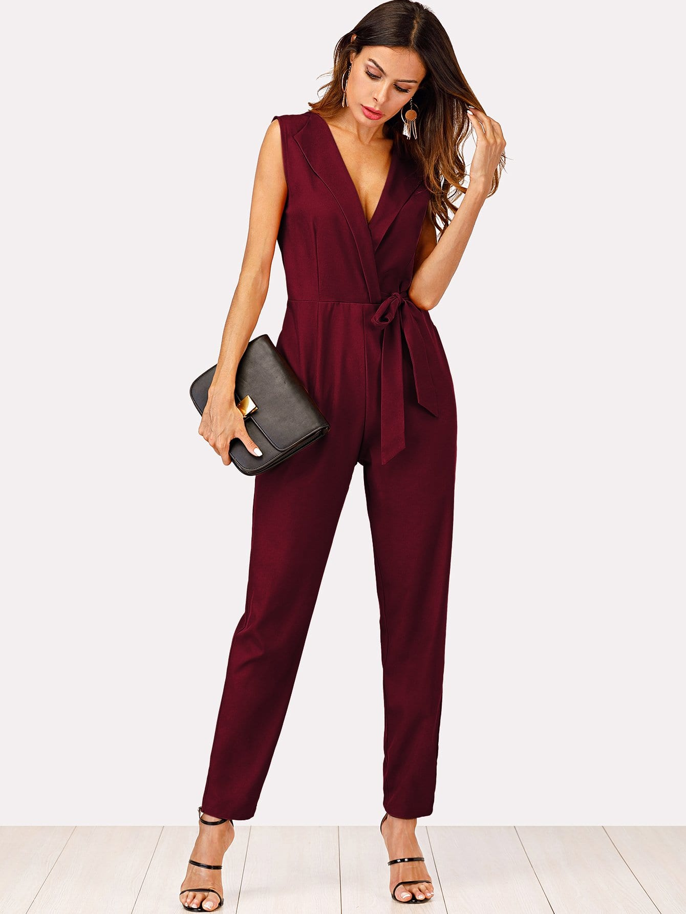 Zip Back Shawl Collar Knot Jumpsuit zip up back knot plaid top