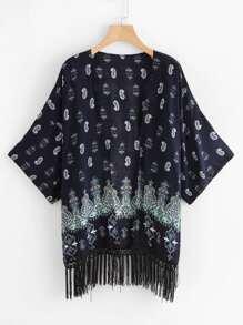 Paisley Print Fringe Hem Kimono