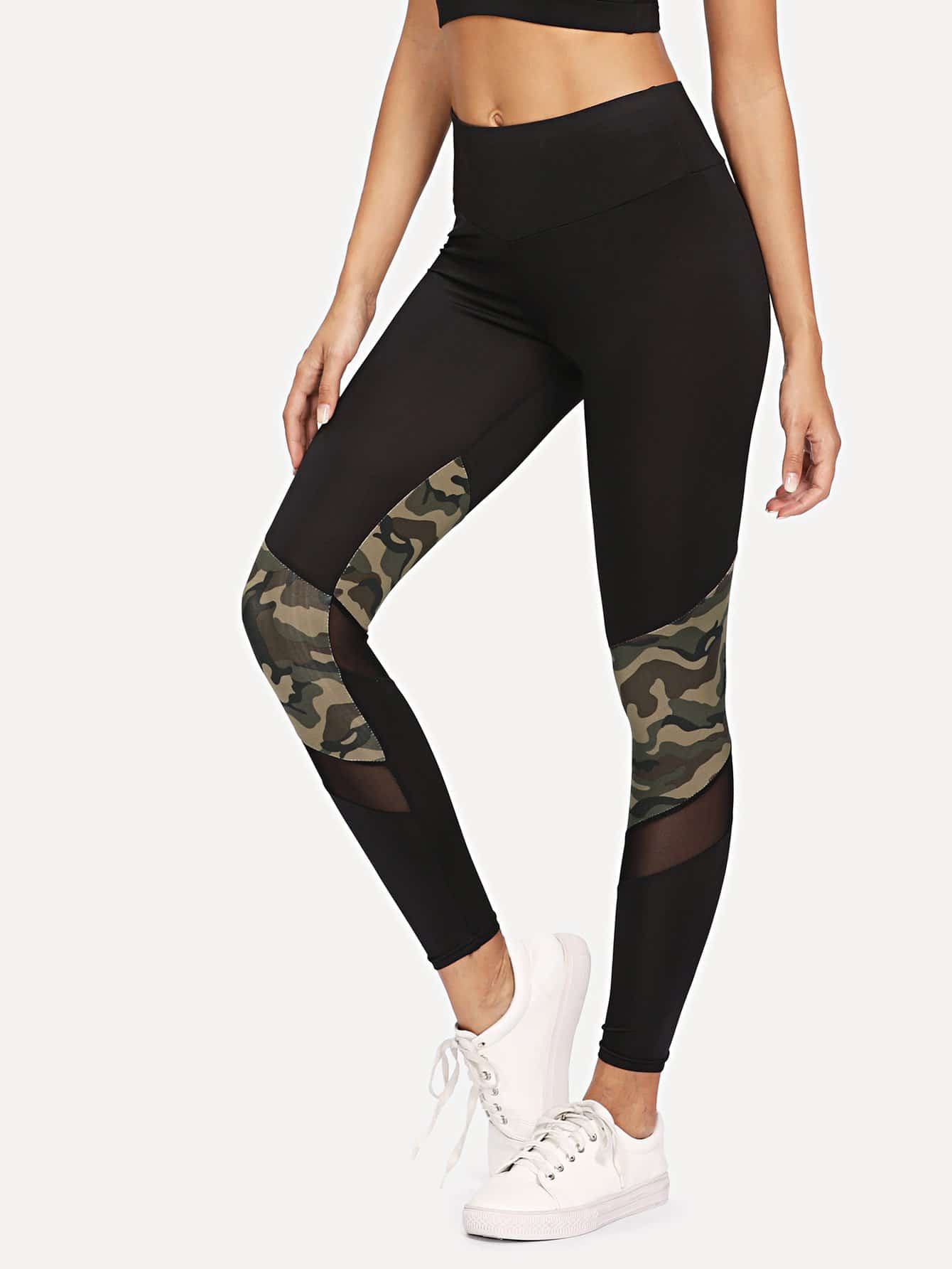 Contrast Camo Mesh Insert Leggings side panel mesh insert camo leggings