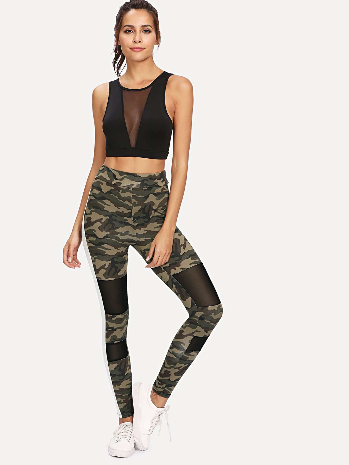 Side Panel Mesh Insert Camo Leggings side panel mesh insert camo leggings