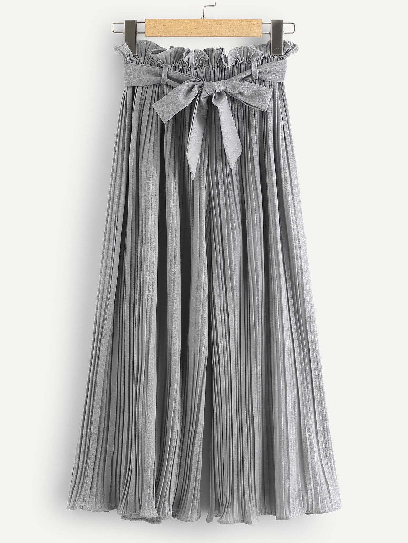 Ruffle Waist Belted Pleated Pants ruffle waist belted peg pants