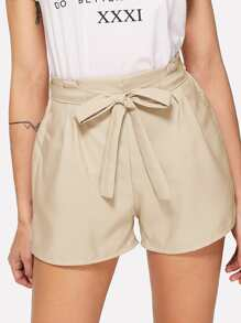 Self Tie Waist Solid Shorts