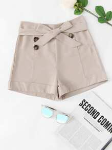Double Breasted Belted Shorts