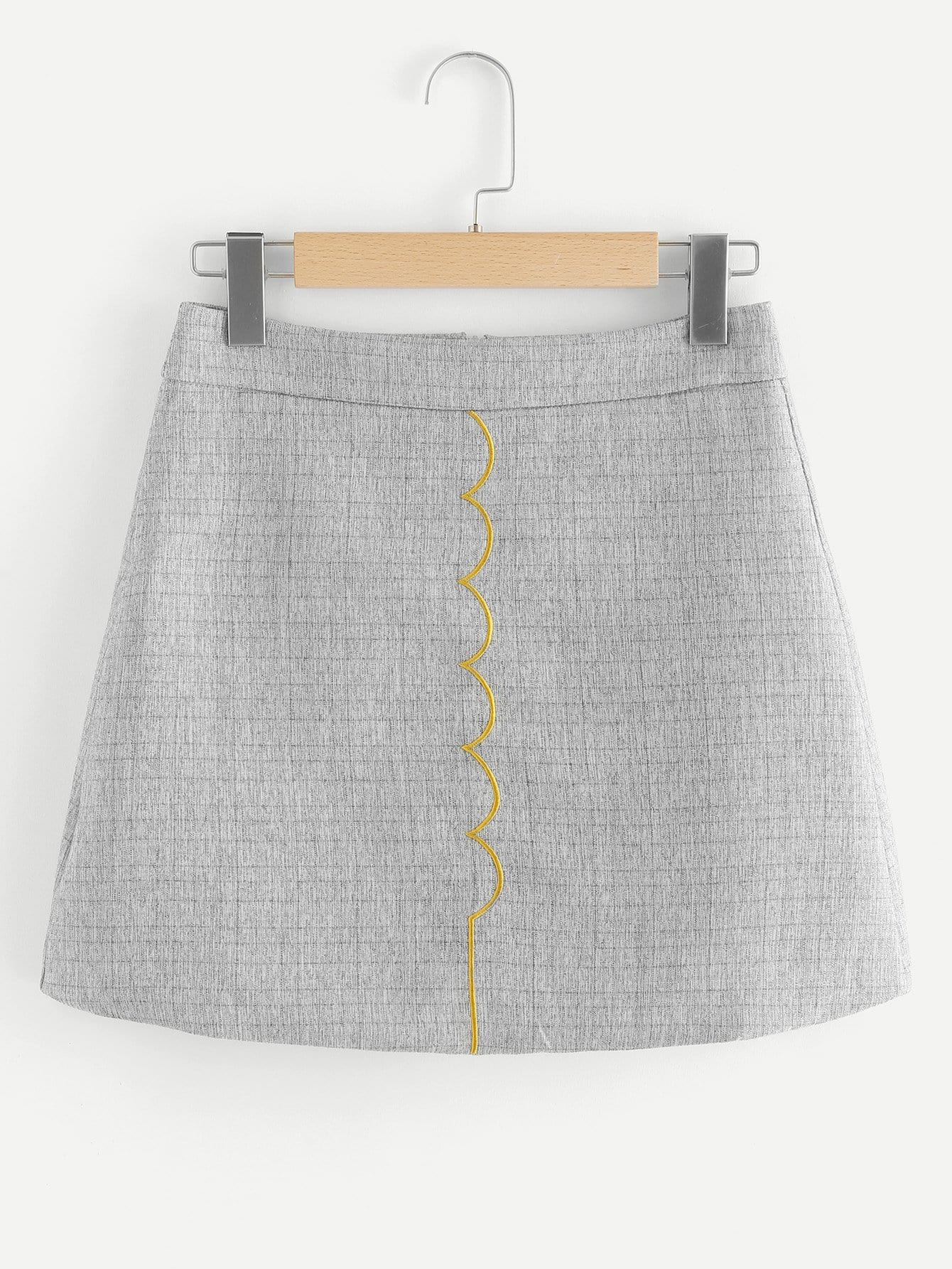 Zip Back Embroidered Skirt zip back fit and flared plaid dress