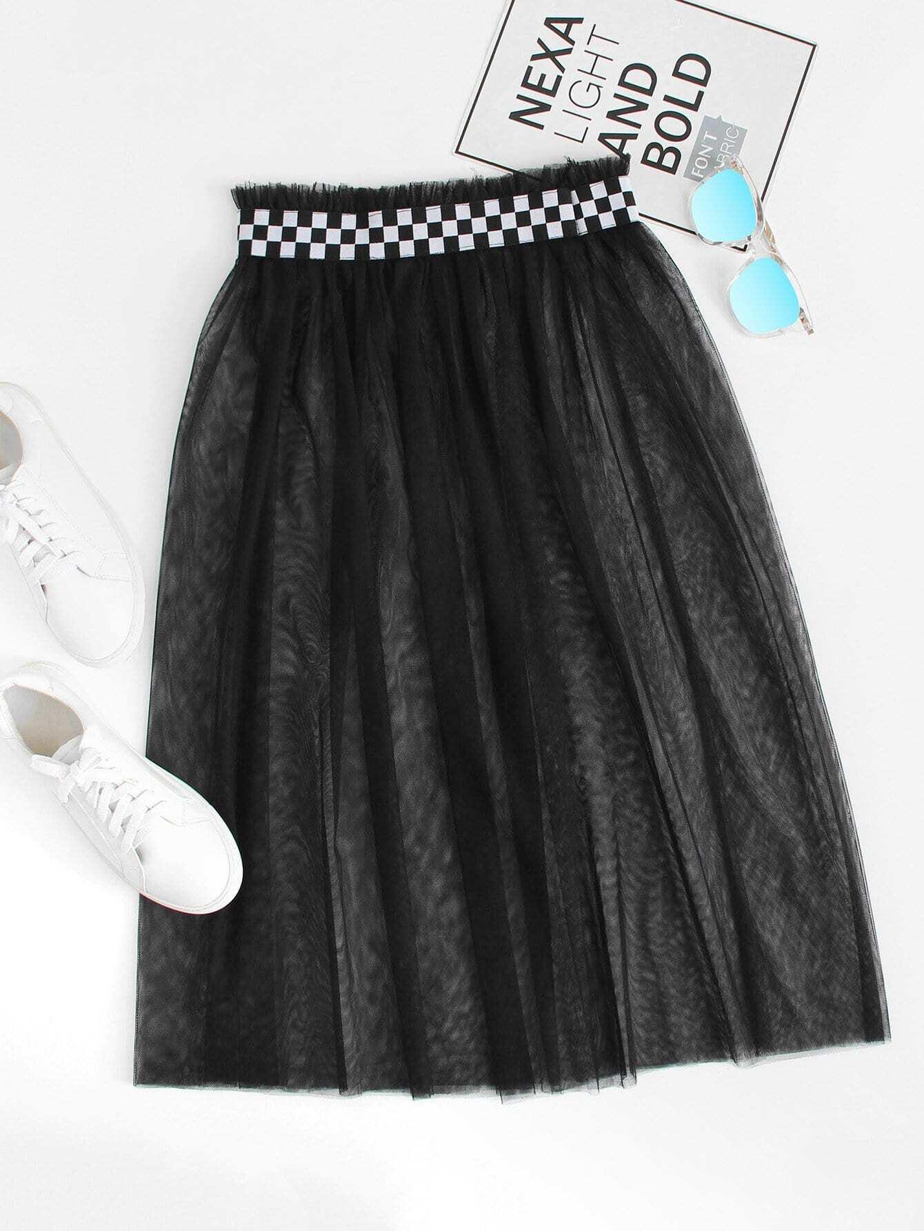 Contrast Gingham Waist Mesh Overlay Skirt ruffle hem gingham contrast mesh skirt
