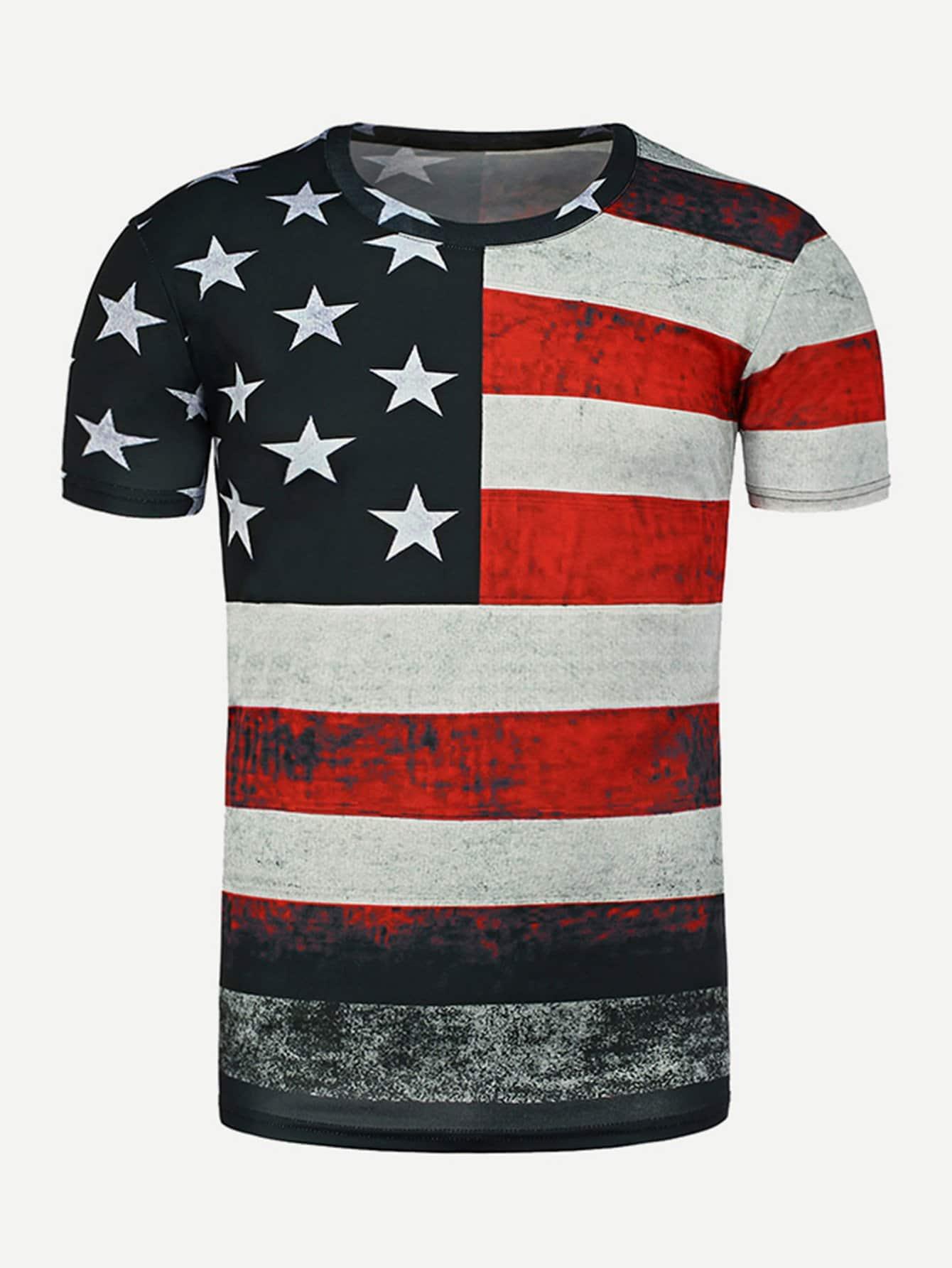 Купить Ржаво-коричневый Мужские футболки, null, SheIn