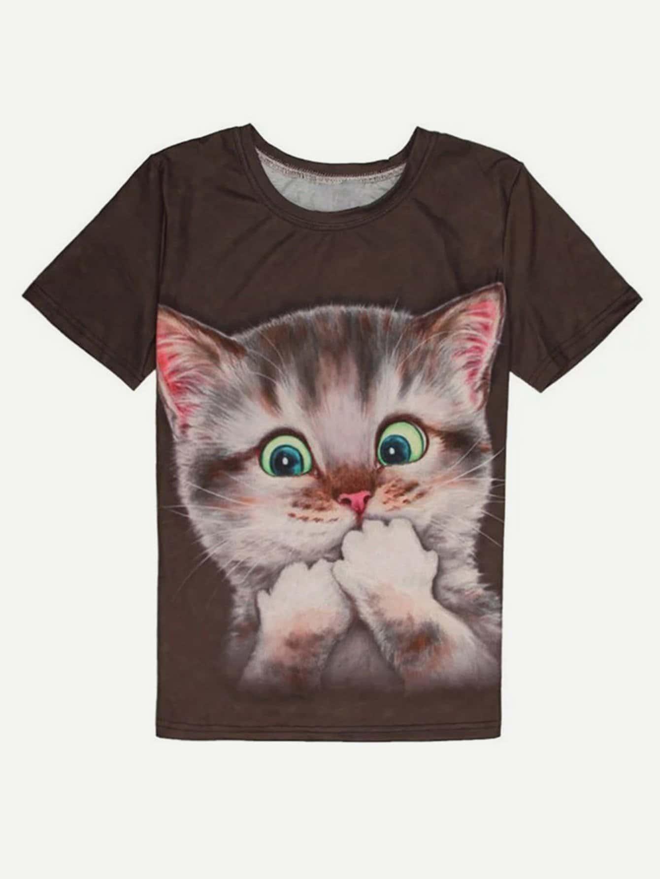 Купить С животными Коричневый Мужские футболки, null, SheIn
