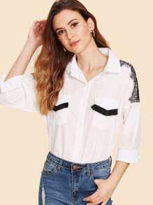 Contrast Lace Shoulder Fringe Flap Pocket Blouse