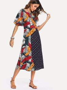 Flutter Sleeve Mixed Print Dress