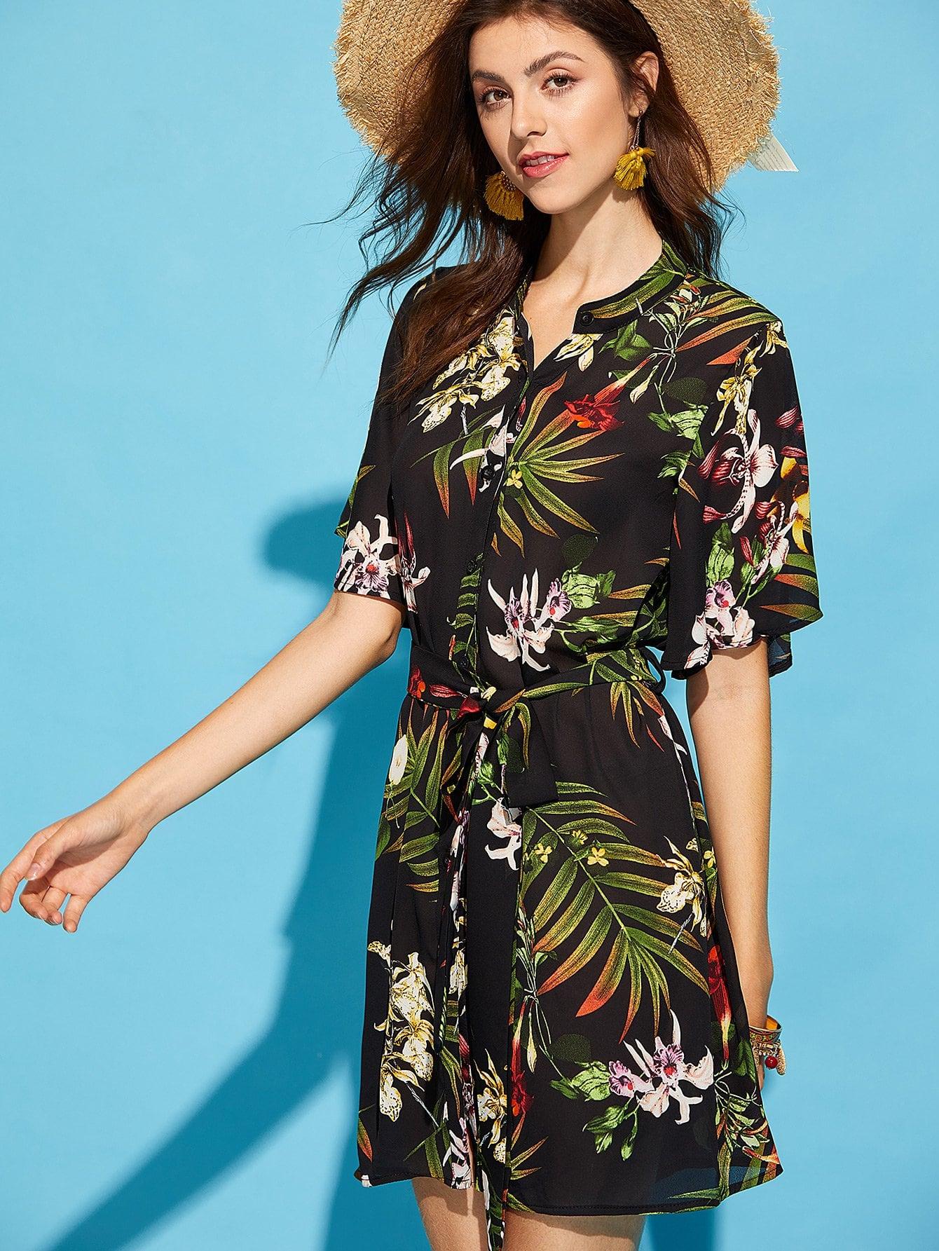 Self Belted Tropical Shirt Dress pu belted tartan shirt