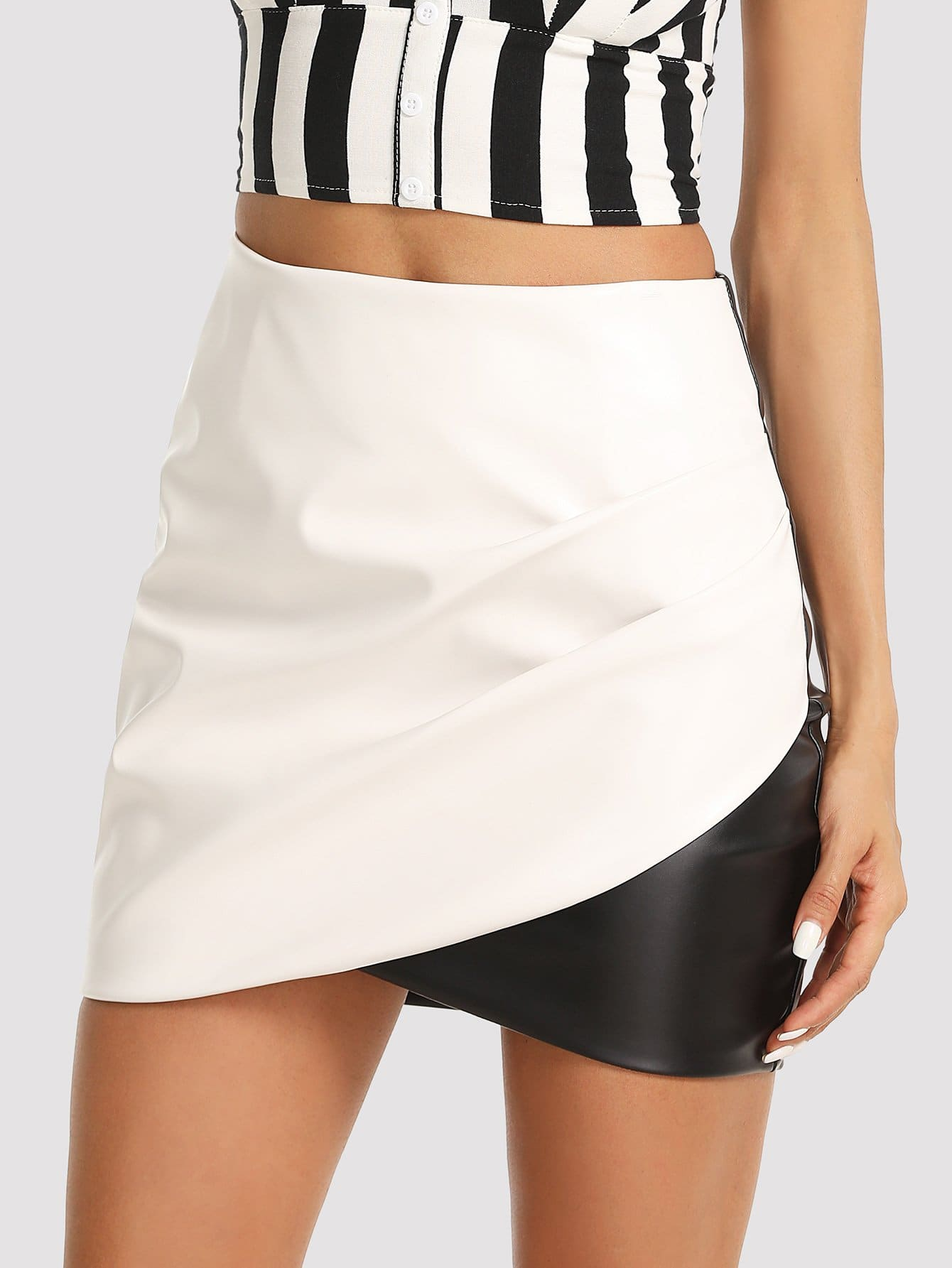 Two Tone Ruched Wrap Skirt drop crotch loose two tone pants