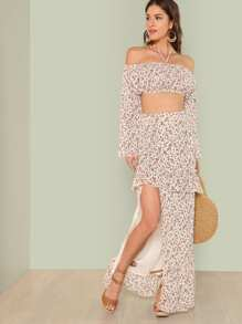 Flower Print Halter Crop Top & Slit Skirt Set
