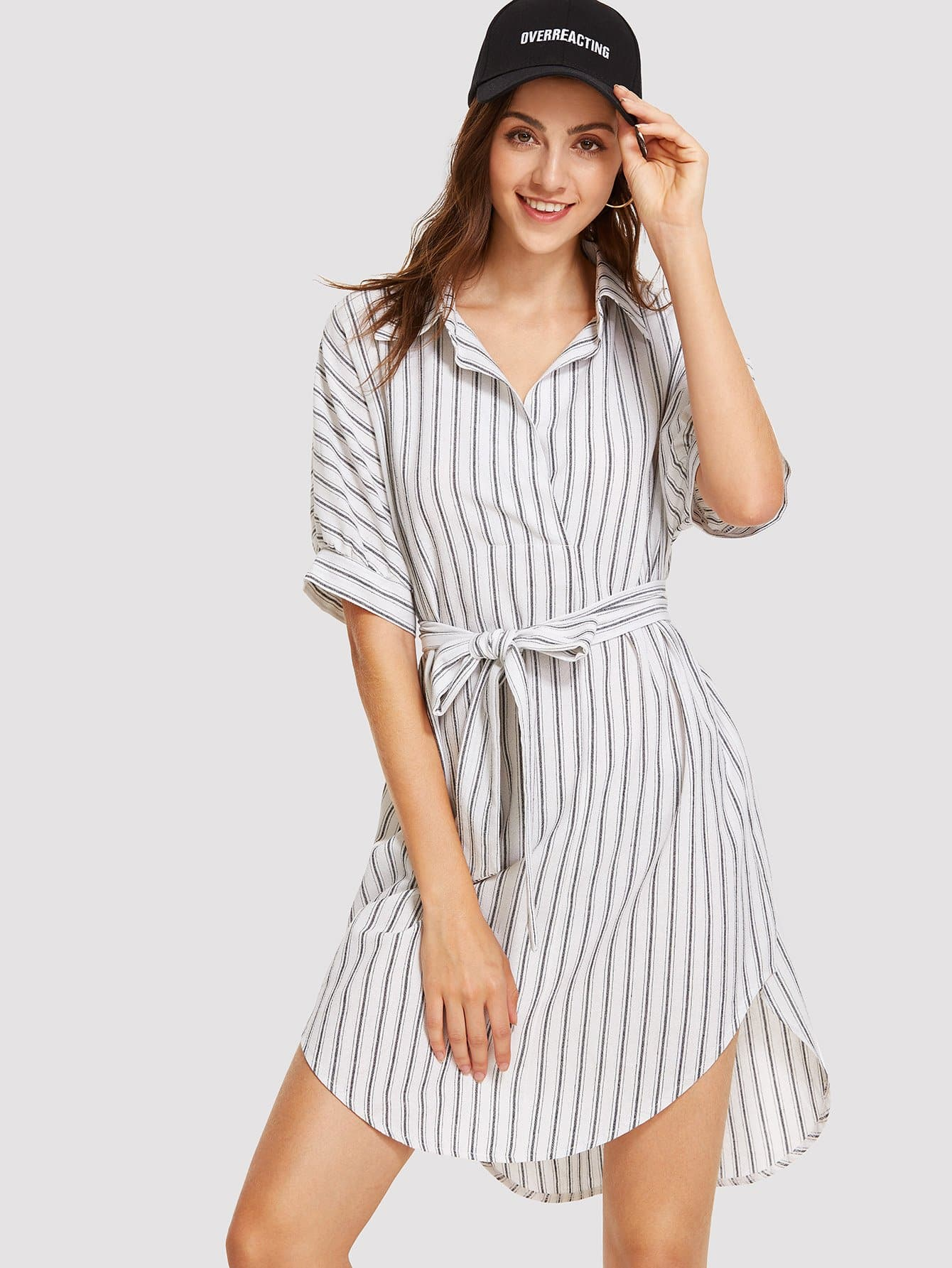 Knot Front Striped Dress knot front fit