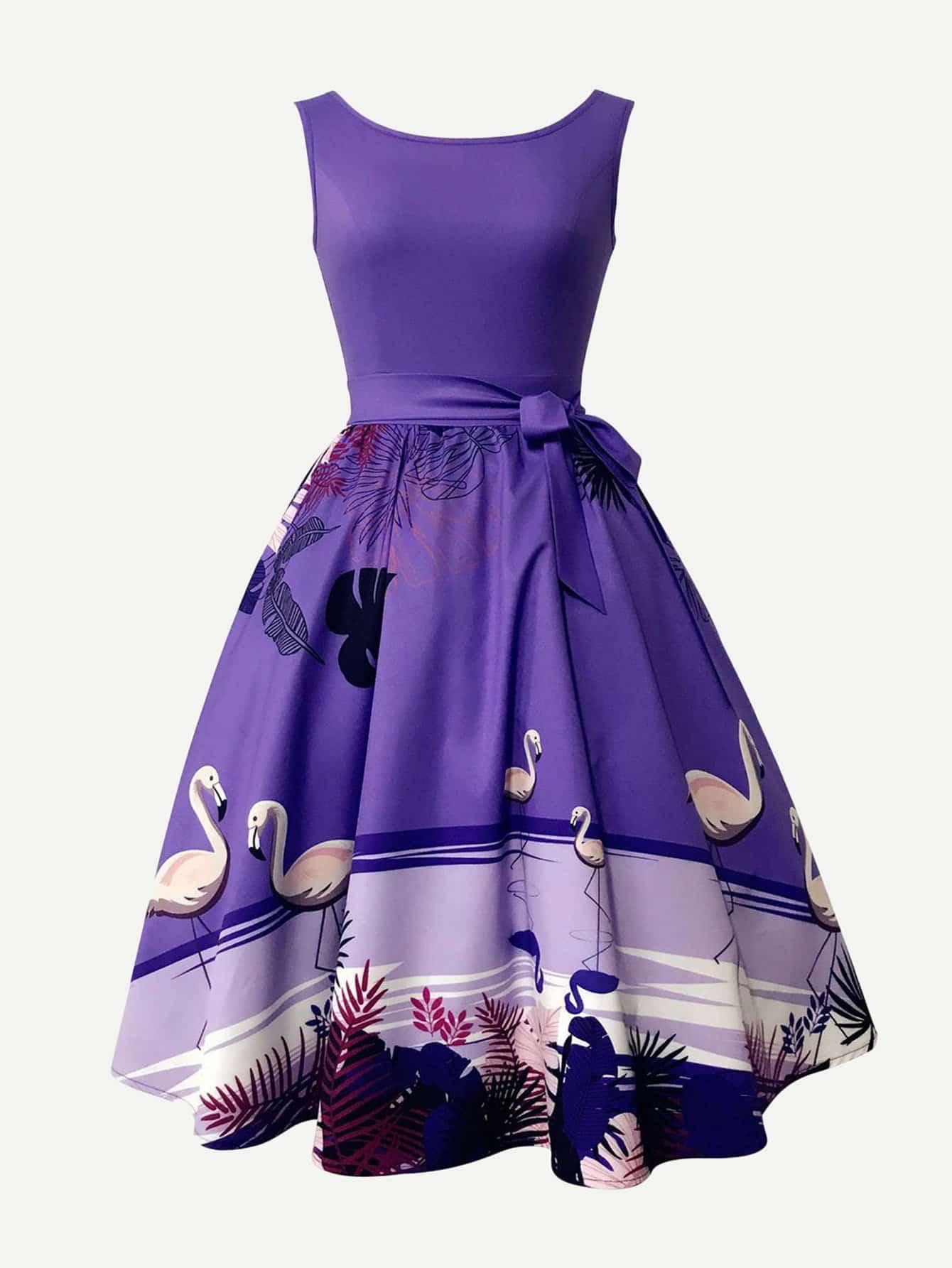 Graphic Print Knot Side Dress guitar print knot side dress