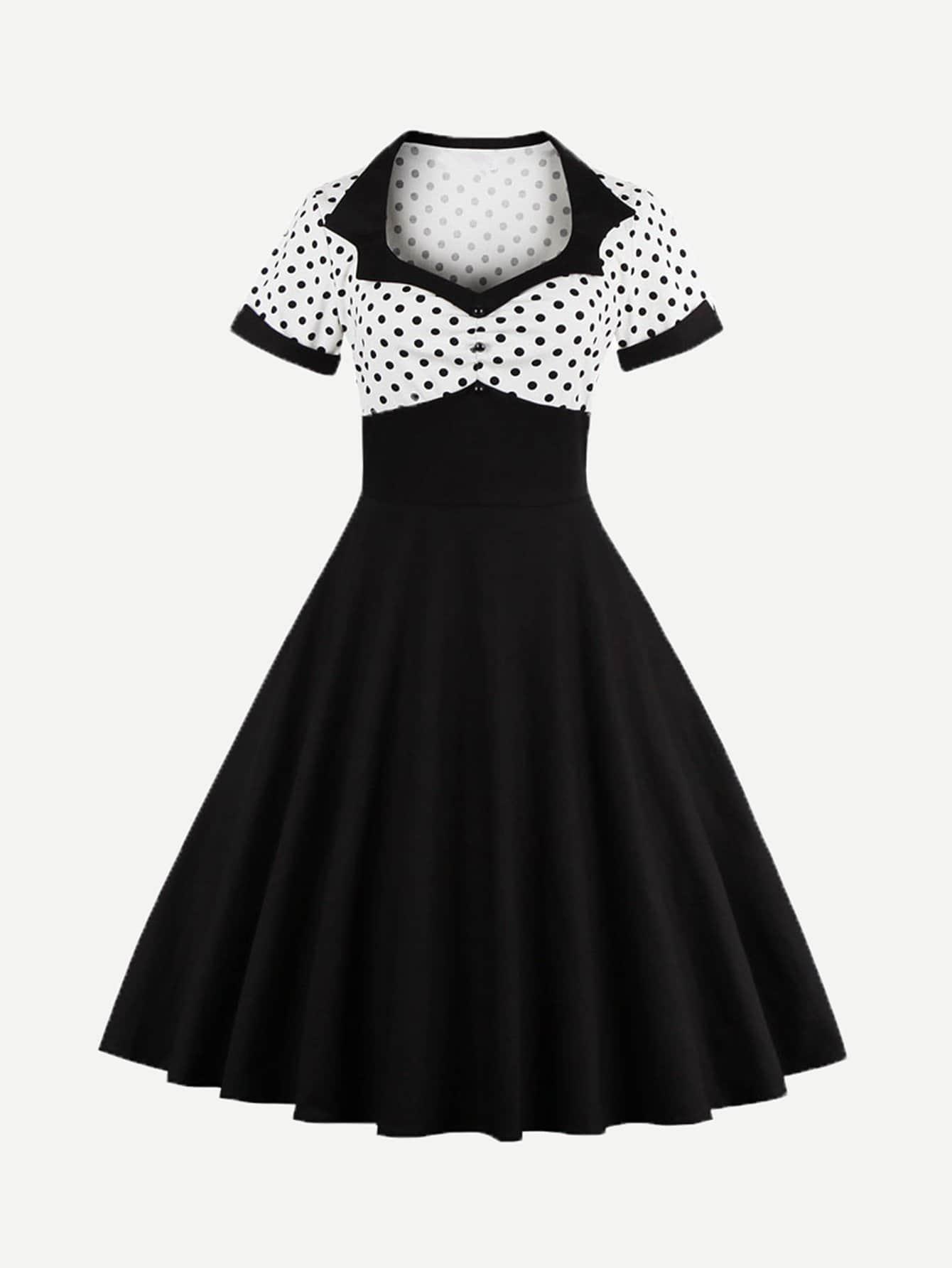 Button Front Polka Dot Top Dress button front halterneck polka dot top