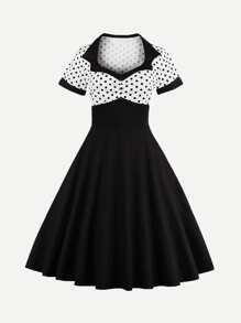 Button Front Polka Dot Top Dress