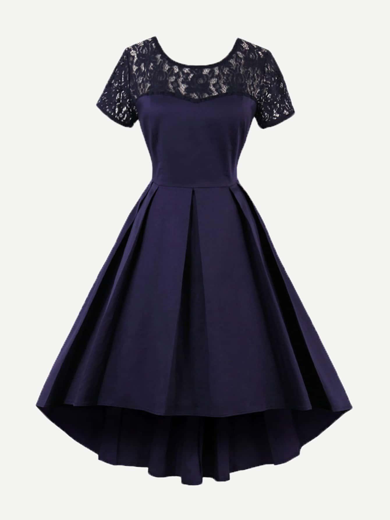 Купить Платье с v-образным воротником с кружевами, null, SheIn