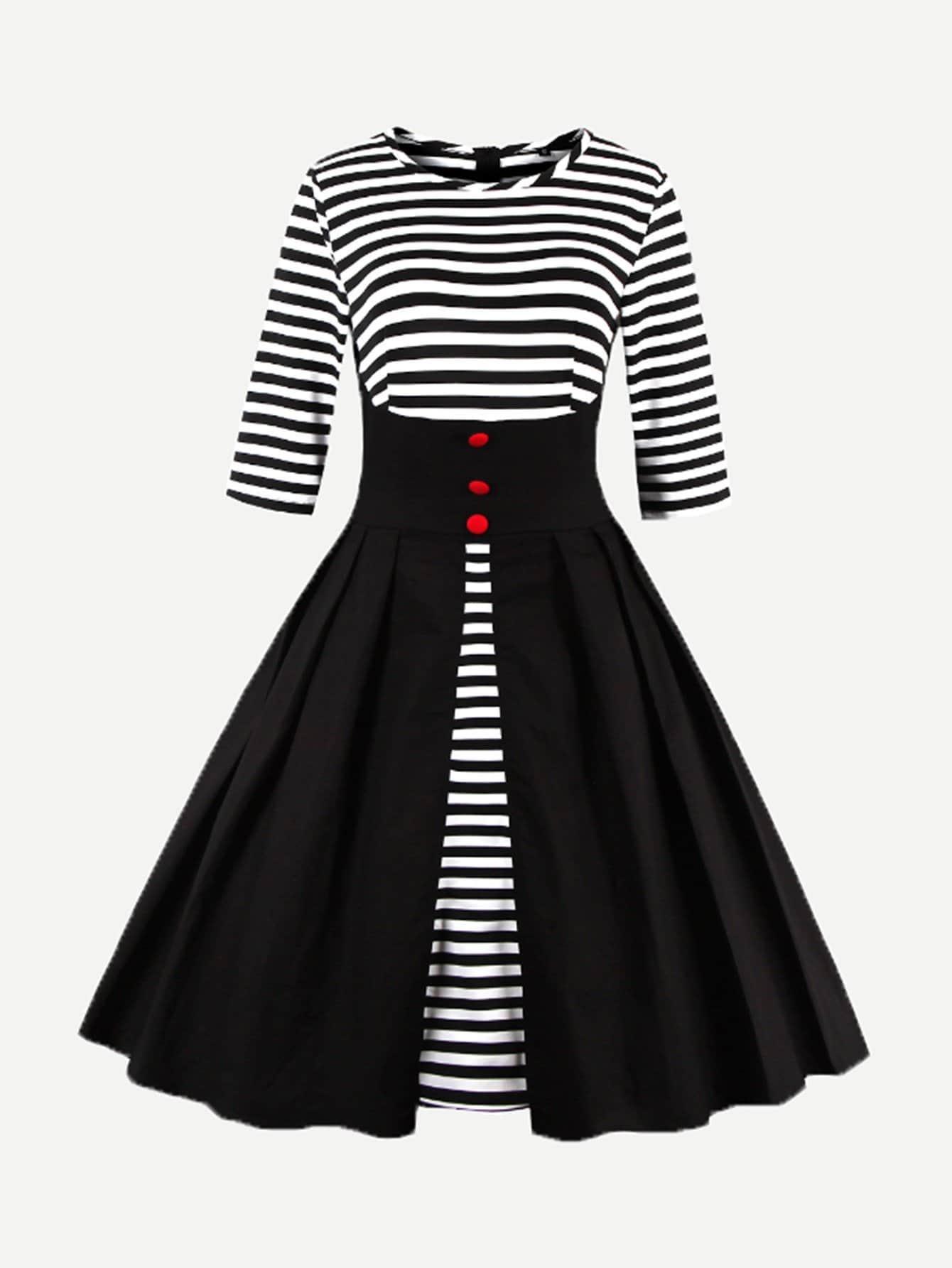 Single Breasted Front Stripe Dress все цены