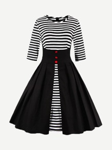 Single Breasted Front Stripe Dress