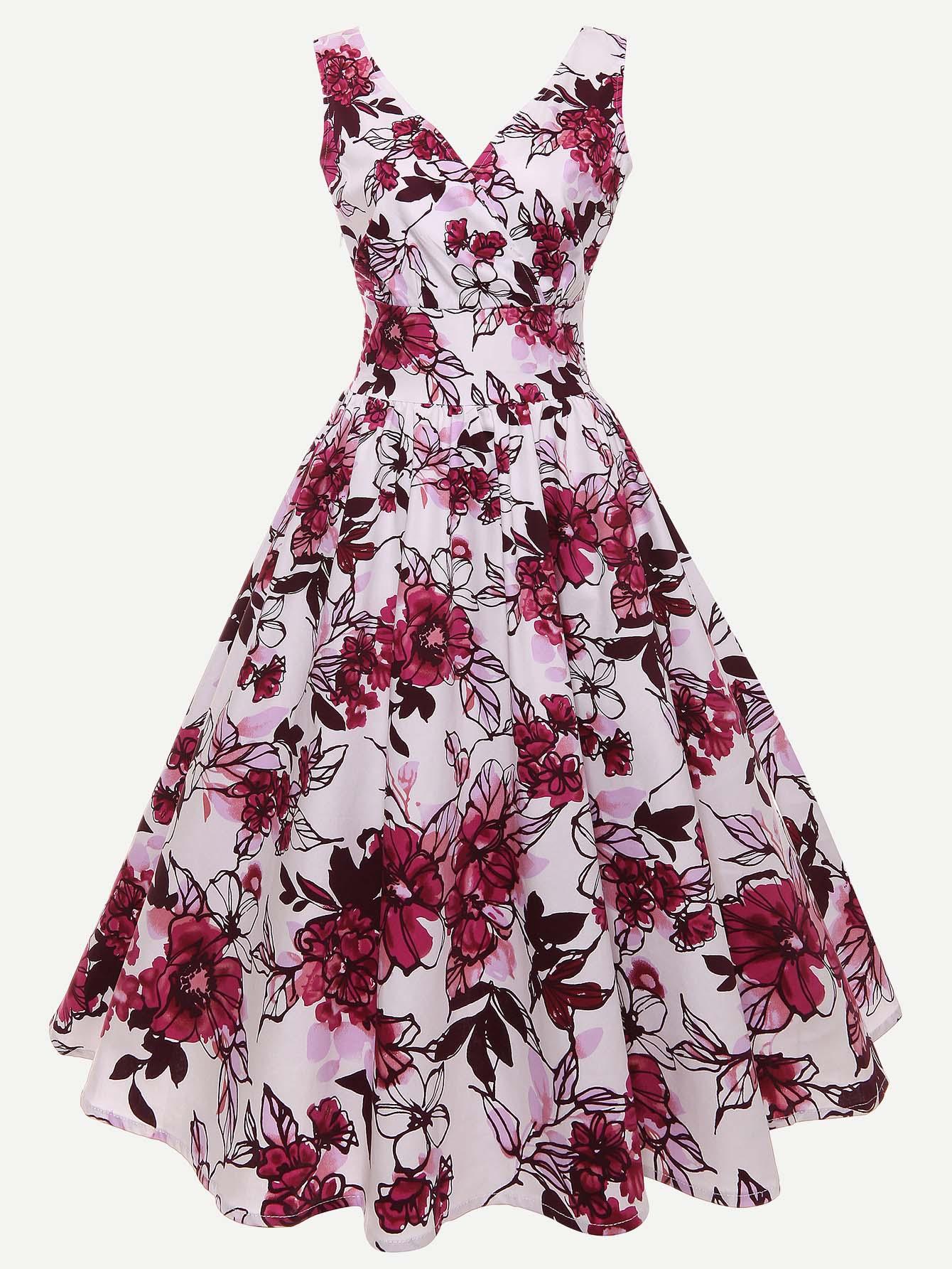 Купить Платье с принтом в цветочек с v воротником, null, SheIn