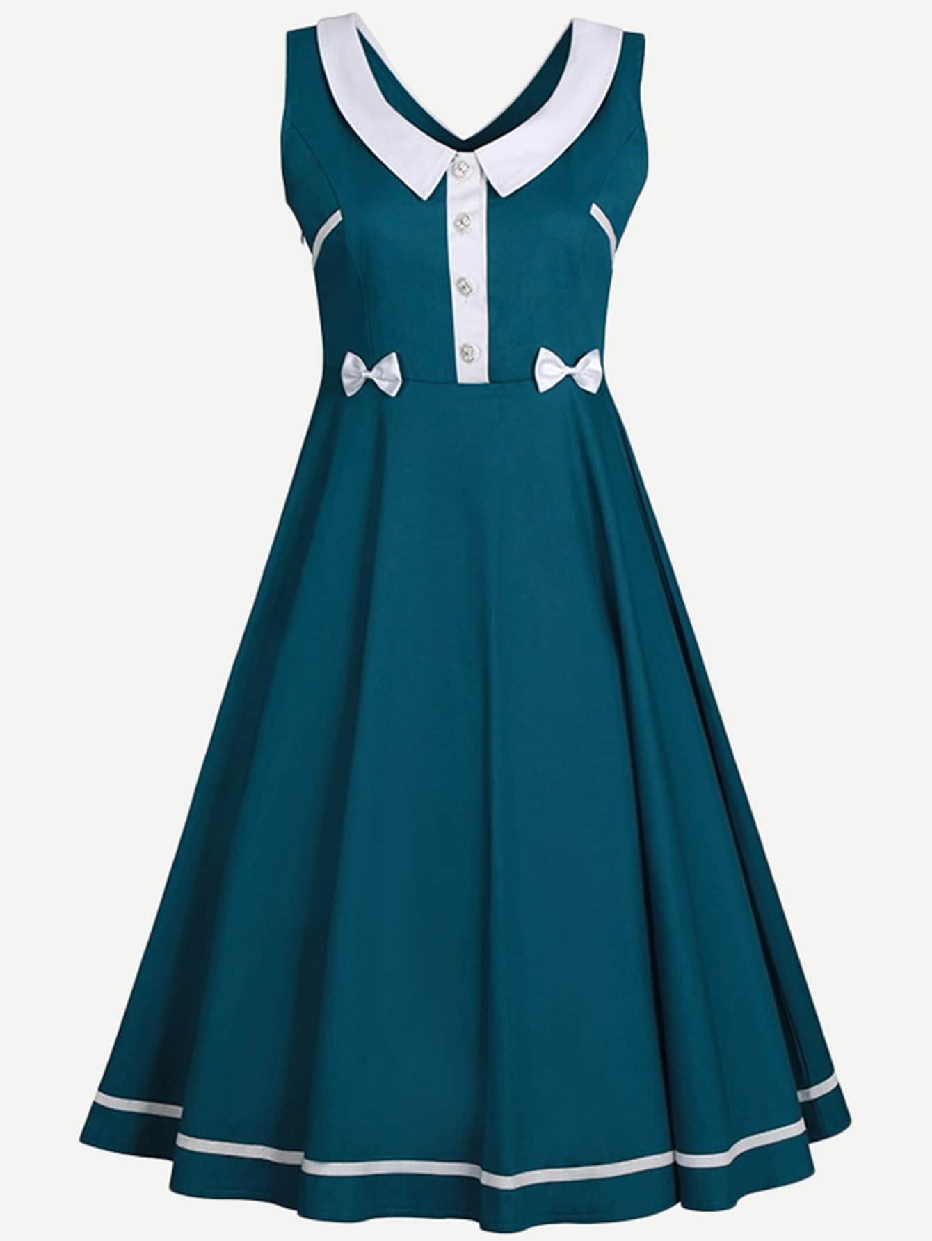 Contrast Collar Button Detail Dress contrast pu grommet detail dress with necklace