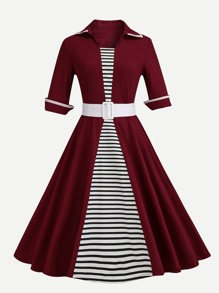 Stripe Panel Belted Detail Dress