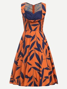 Leaves Print Zip Up Back Dress