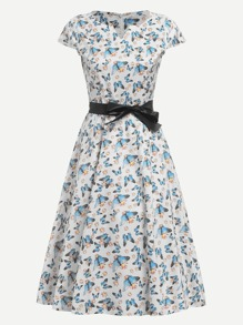 Butterfly Print Knot Front Dress