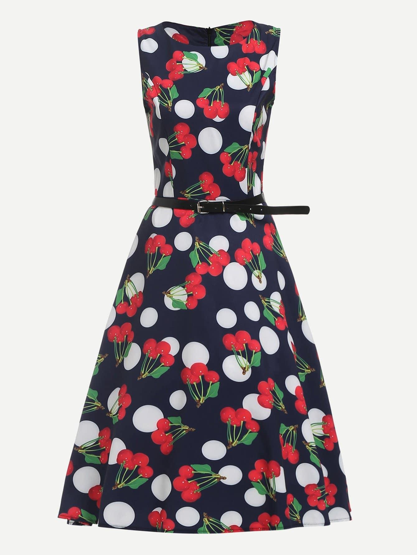 Купить Платье с поясом и принтом вишня, null, SheIn