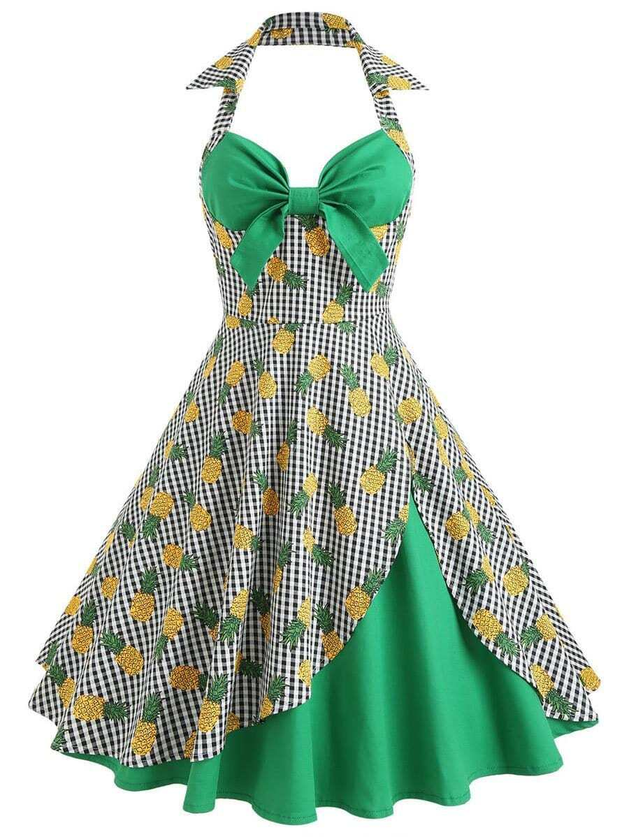 Pineapple Print Colorblock Plaid Halter Dress mixed print colorblock knot back halter dress