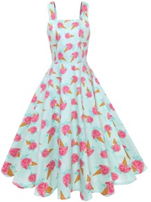 Ice-cream Print Zip Up Back Dress