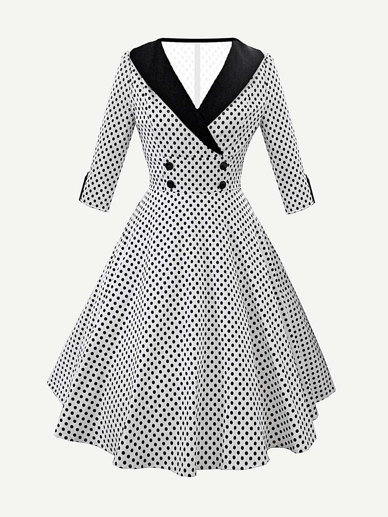 Купить Платье в горошек с контрастным воротником, null, SheIn