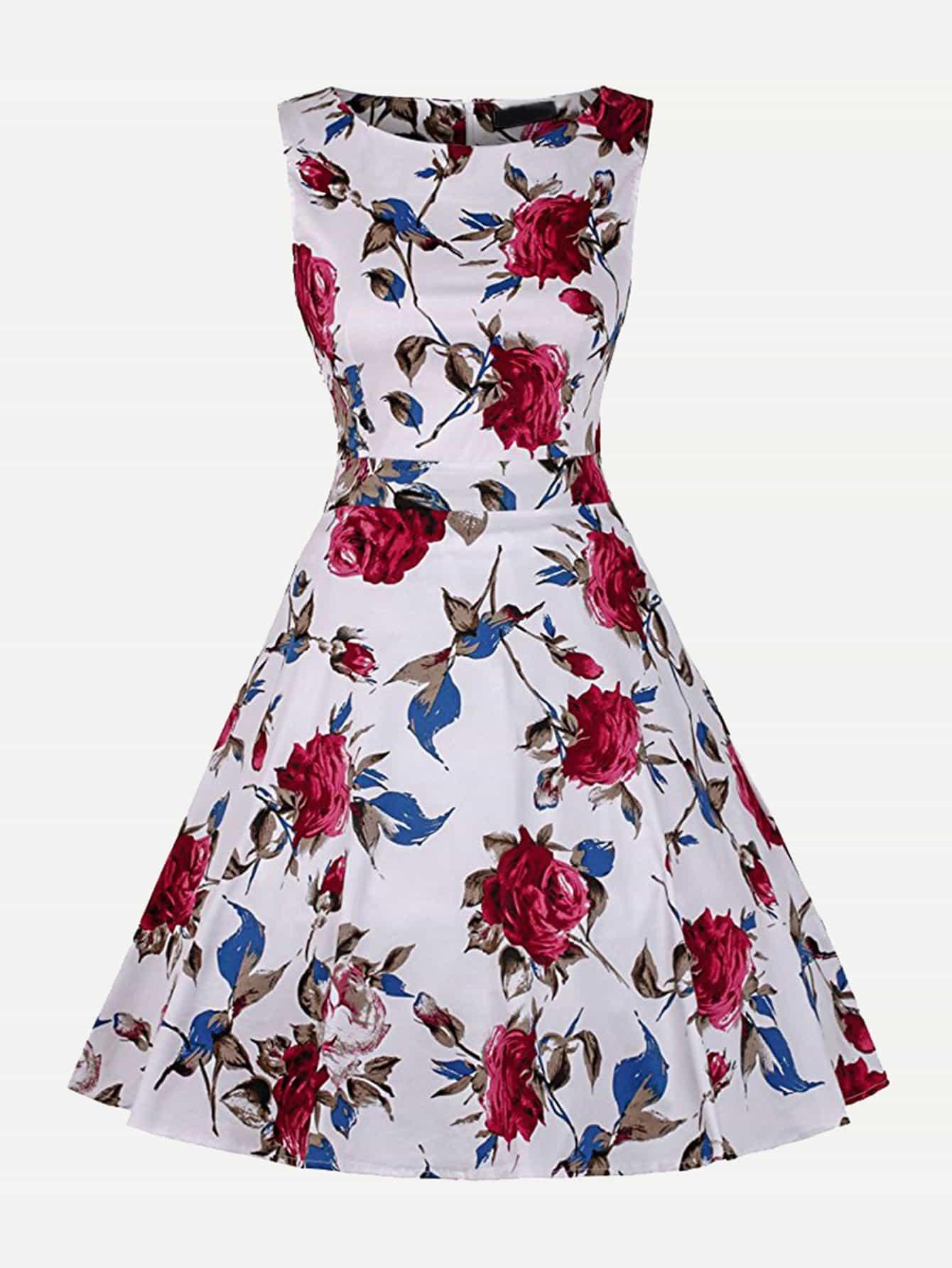 Floral Print Knot Back Dress mixed print colorblock knot back halter dress