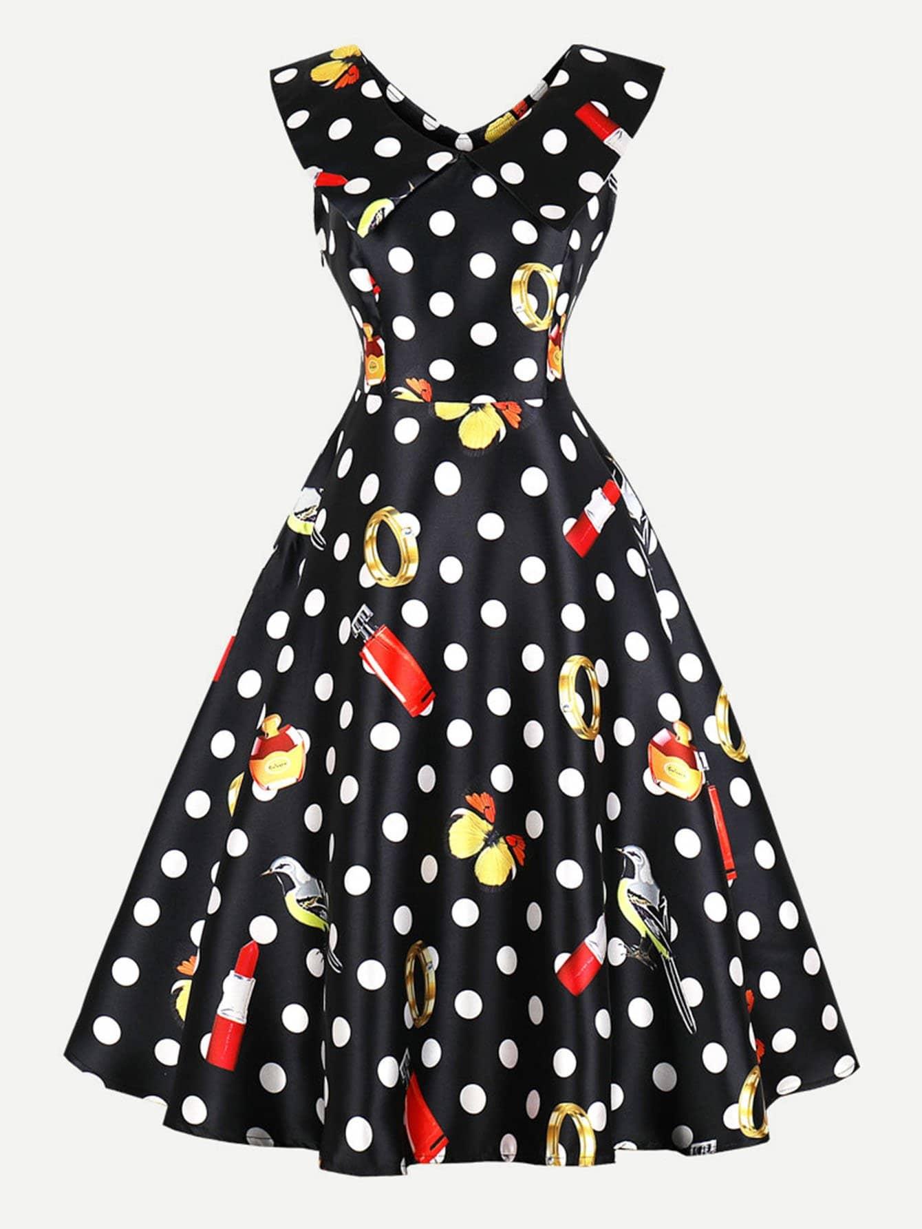 Polka Dot Zip Up Side Dress zip up side plaid dress