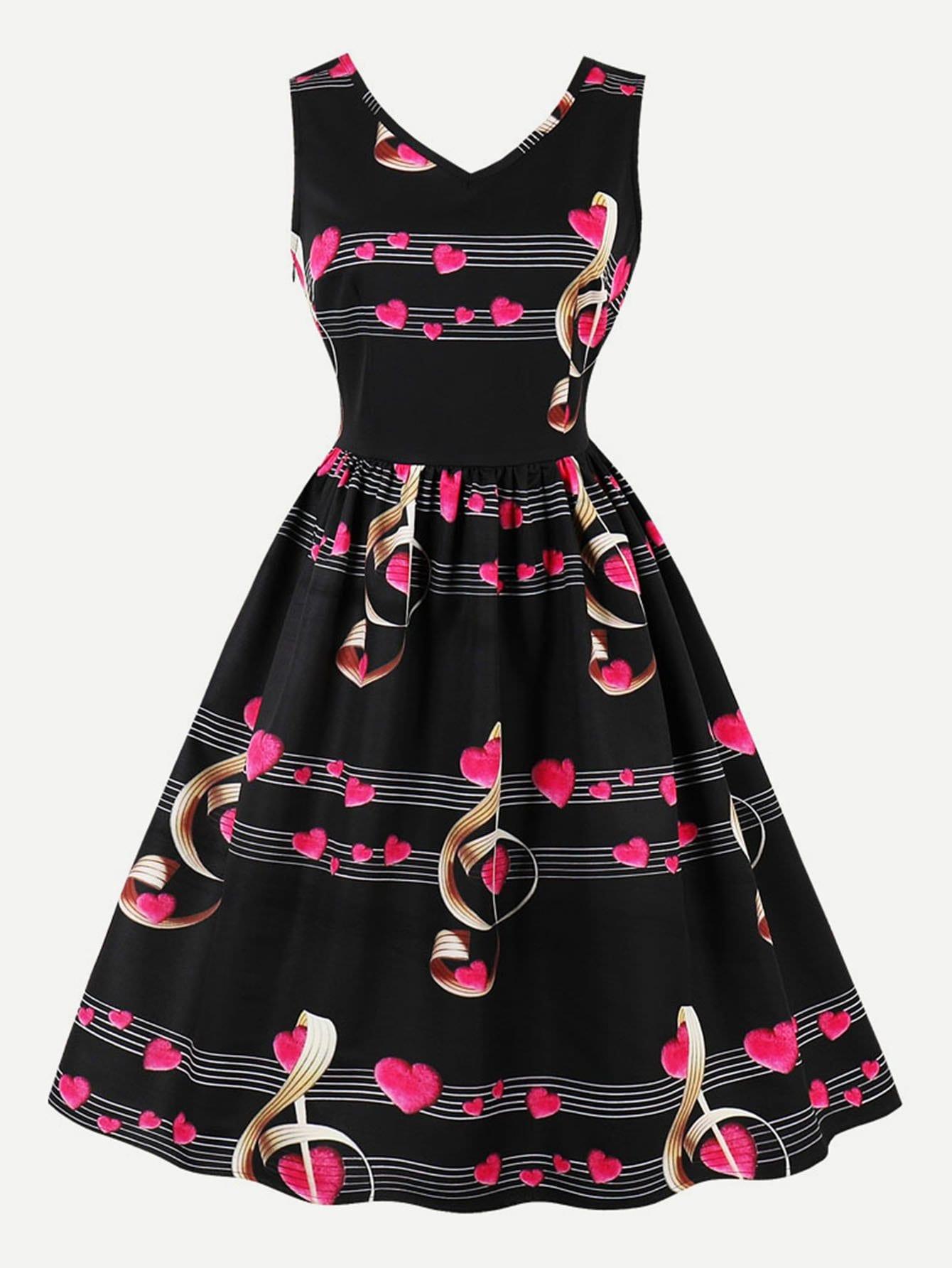 Купить Платье с v-образным воротником и принтом музыкальная нота, null, SheIn