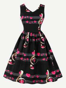 Musical Note Print V Neckline Dress