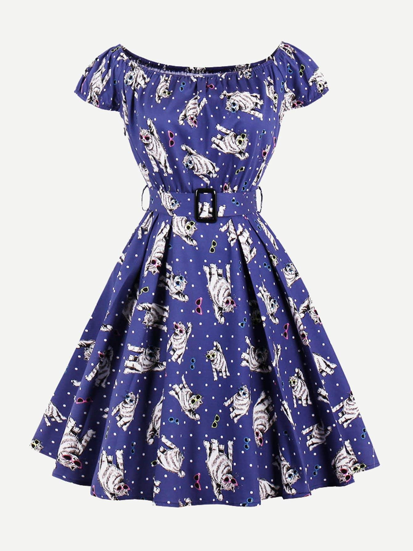 Купить Платье с принтом кошки и открытыми плечами, null, SheIn