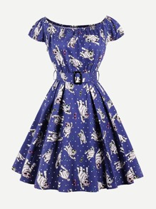 Off Shoulder Cat Print Belted Dress