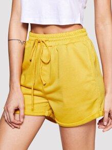 Rolled Hem Marled Knit Shorts
