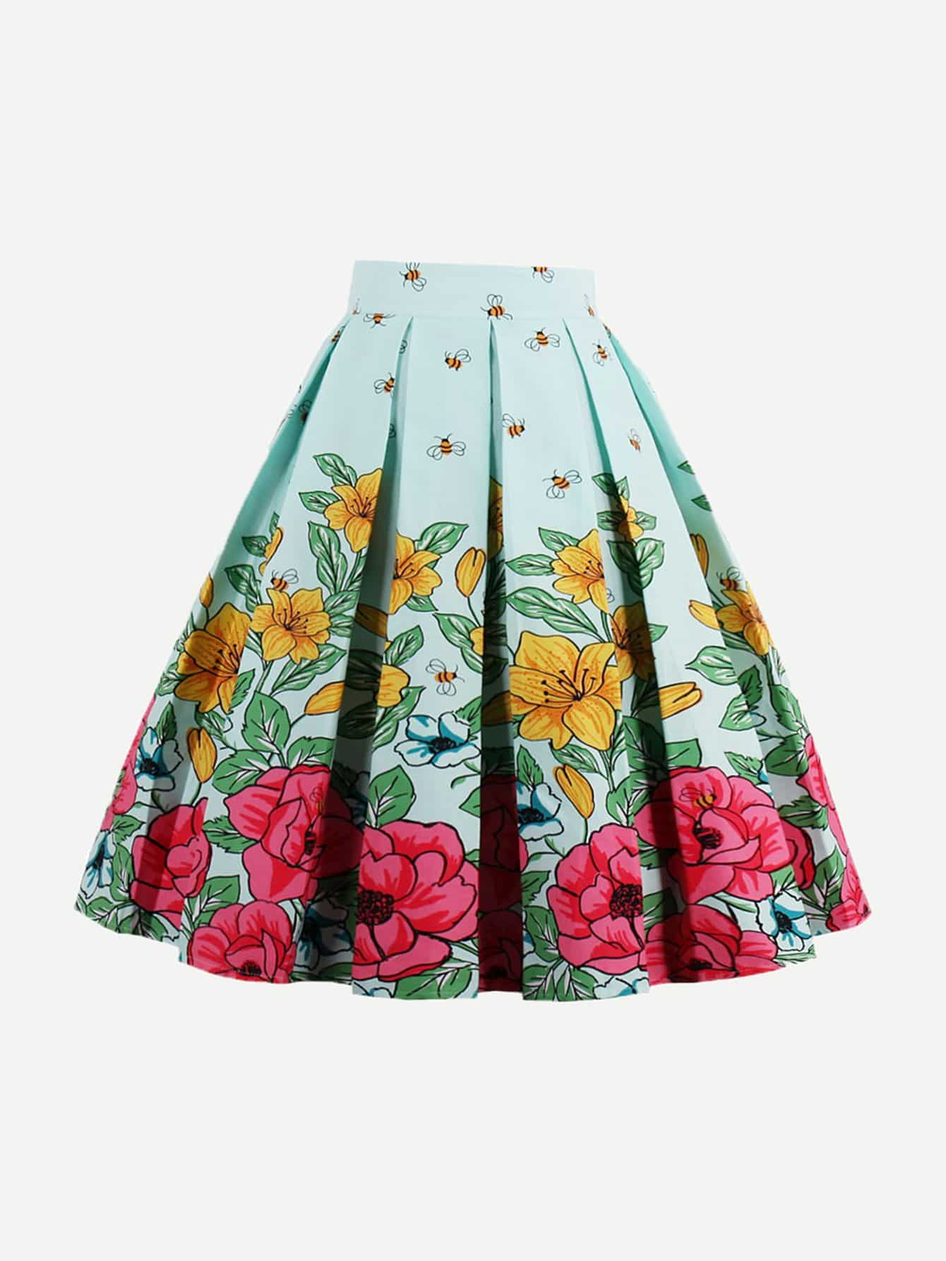 Floral Print Box Pleated Skirt box pleated suede skirt