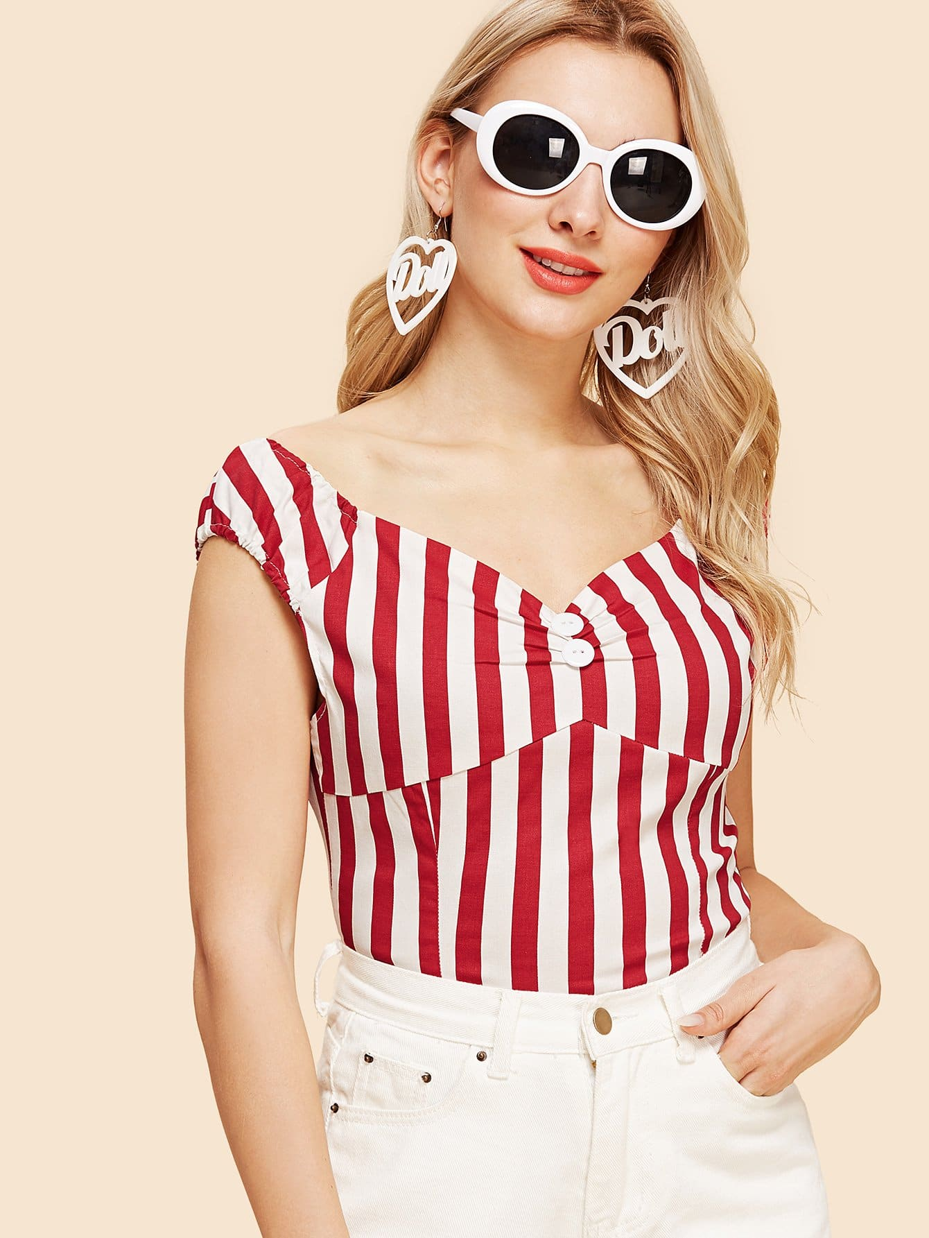 V Neckline Striped Tee boat neckline striped blouse with buttons