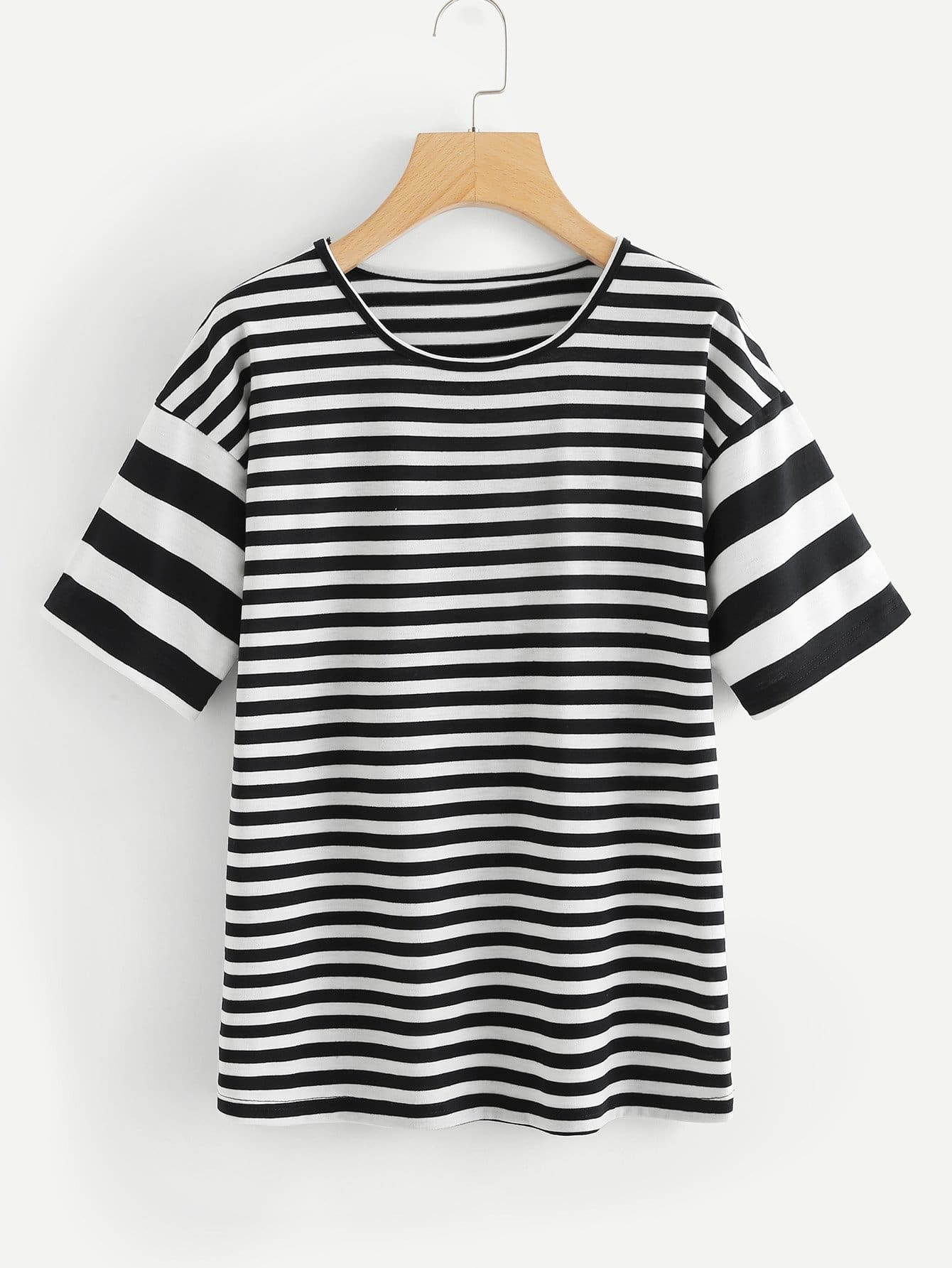 Drop Shoulder Striped Tee two tone drop shoulder tee