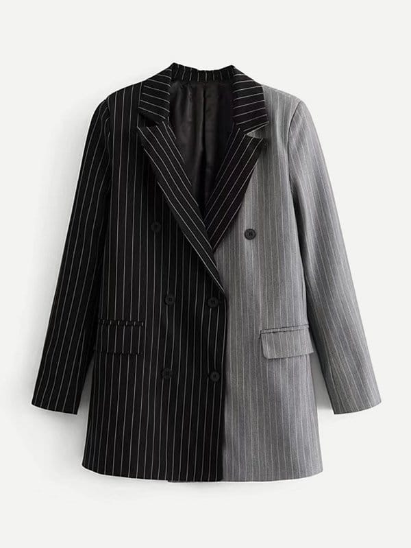 Two Tone Pinstriped Blazer two tone heart