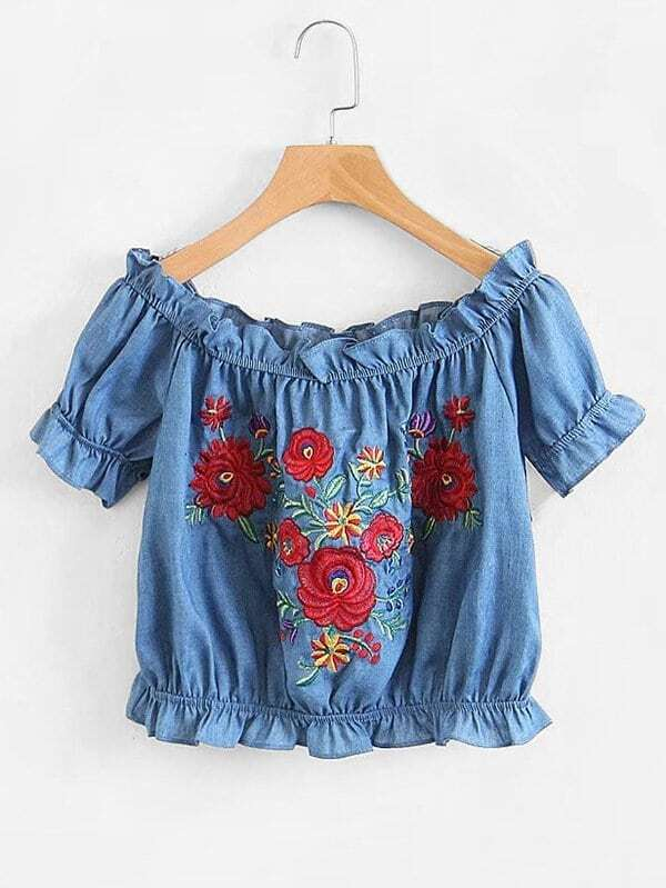 Frill Trim Embroidery Crop Denim Top girls floral embroidery frill trim dress