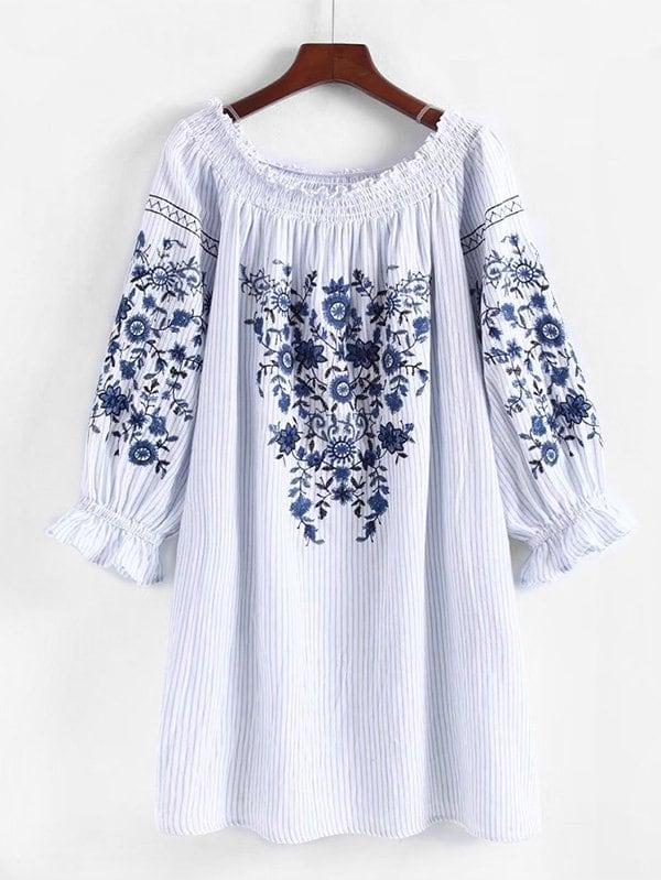 Frill Trim Striped Embroidery Dress girls floral embroidery frill trim dress