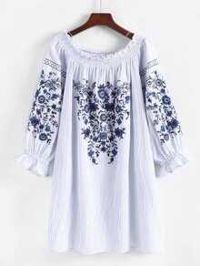 Frill Trim Striped Embroidery Dress