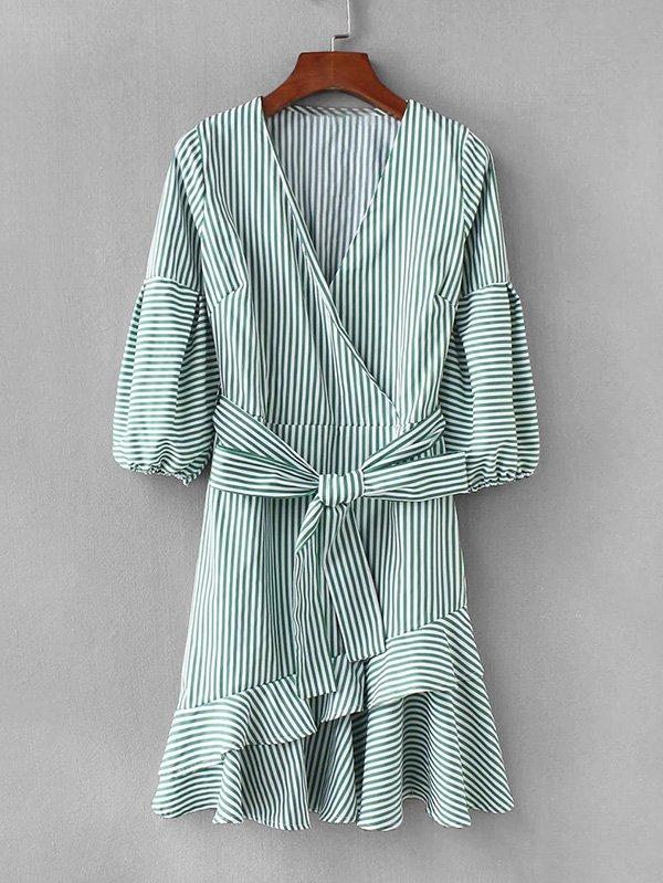 Contrast Striped Ruffle Hem Surplice Dress все цены