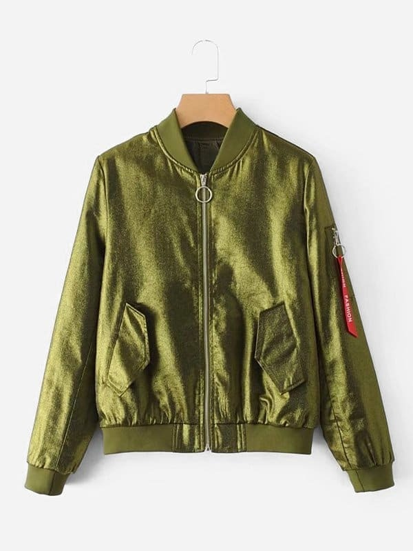 Metallic Letter Ribbon Detail Bomber Jacket two tone patch back letter ribbon detail bomber jacket
