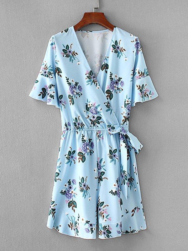 All Over Florals Surplice Neckline Jumpsuit all over florals dip hem shirt