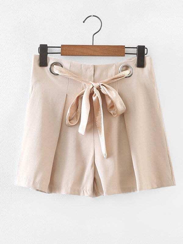 Metal Grommet Tie Detail Shorts metal grommet detail drop shoulder sweatshirt dress